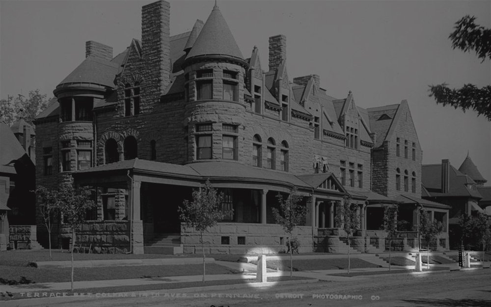 View of the horse tie-ups in front of the Charline Apartments at 1431 Pennsylvania Avenue, photographed circa 1890. (William Henry Jackson/Denver Public Library/Western History Collection/CHS.J1567)