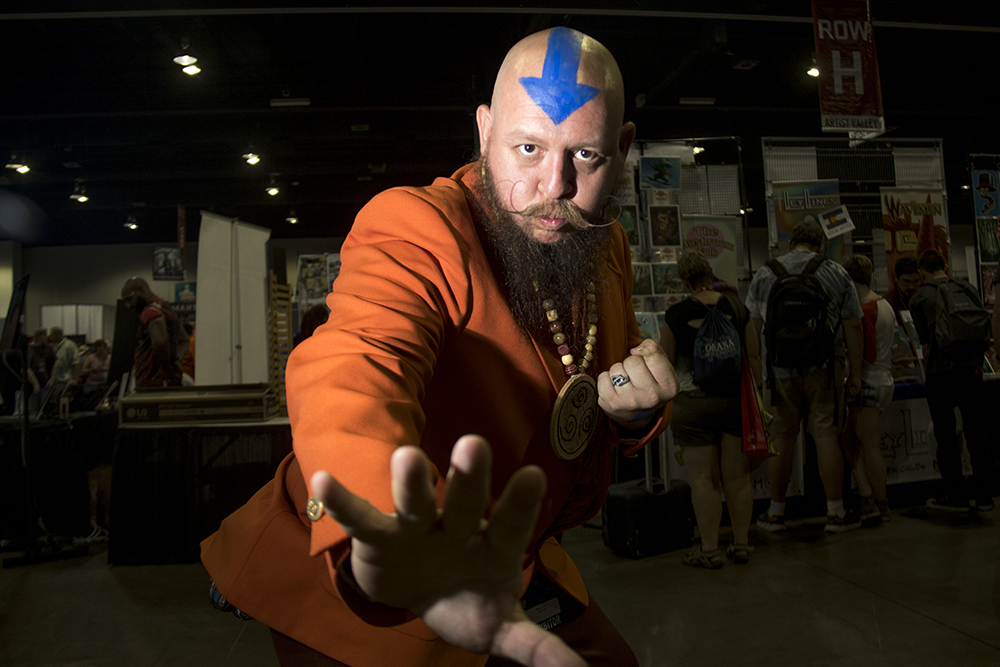 Greg Shupe as Ang, the last airbender. Denver Comic Con 2017. (Kevin J. Beaty/Denverite)  comic con; cosplay; kevinjbeaty; denver; denverite; colorado;