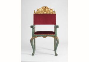 Domingo Gutiérrez, Armchair for the Solium of the Caracas Cathedral (1766). Gilded and painted Spanish cedar, fabric upholstery. 116 x 60 x 49.5 cm. Denver Art Museum. Promised gift of Patricia Phelps de Cisneros in honor of Gustavo A. Cisneros (Courtesy of Colección Cisneros)