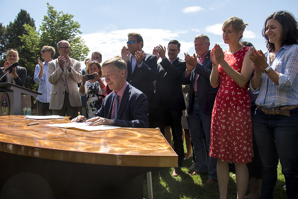 Governor John Hickenlooper holds a press conference about positioning Colorado to adhere to Paris Climate Agreement standards with or without the federal government. July 11, 2017. (Kevin J. Beaty/Denverite)  denver; colorado; energy; red rocks; governor john hickenlooper; kevinjbeaty; denverite;