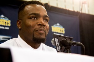 Paul Millsap is officially introduced as a new Nuggets player at the Montbello Recreation Center, July 13, 2017. (Kevin J. Beaty/Denverite)  denver; colorado nuggets; basketball; sports; montbello recreation center; denverite; kevinjbeaty;