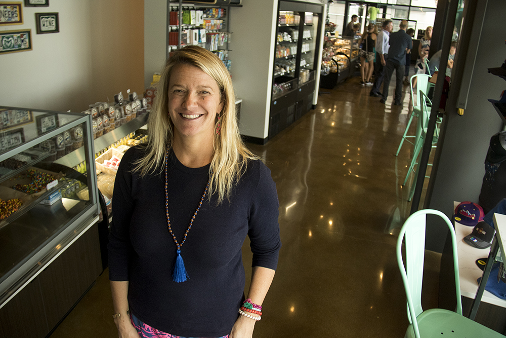 The Local(ish) Market's co-founder, Jill Alfond, inside the storefront at Union Station, July 26, 2017. (Kevin J. Beaty/Denverite)  union station; food; restaurant; beer; denver; colorado; denverite; kevinjbeaty;