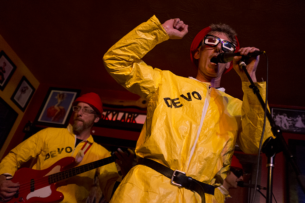 Jocko Homo, the Devo Tribute Band, plays the Skylark Lounge during the UMS, July 28, 2017. (Kevin J. Beaty/Denverite)  ums; music; concert; underground music showcase; south broadway; skylark lounge; denver; denverite; colorado; kevinjbeaty; divo;