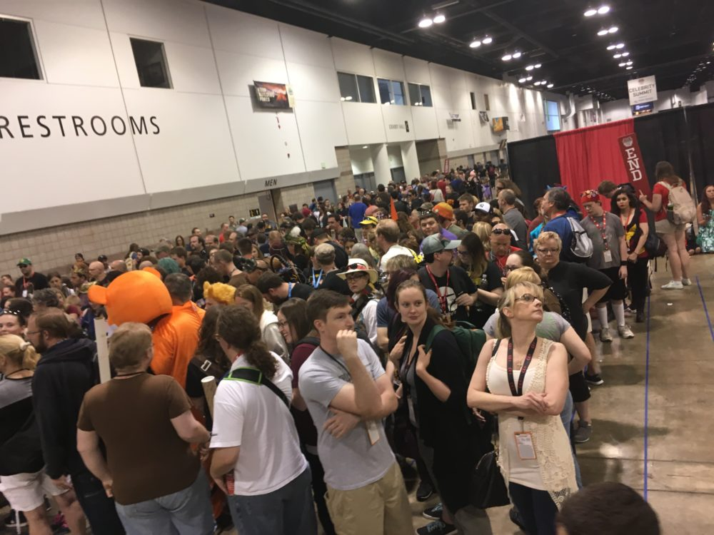 Fans wait in line to meet Nathan Fillion at Denver Comic Con 2017. (Dave Burdick/Denverite)