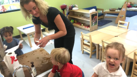 Malanna Newell is a toddler teacher at the Mile High Early Learning center in Denver's Westwood neighborhood. She started as a teaching assistant before taking Mile High's Child Development Associate training last fall. (Chalkbeat)