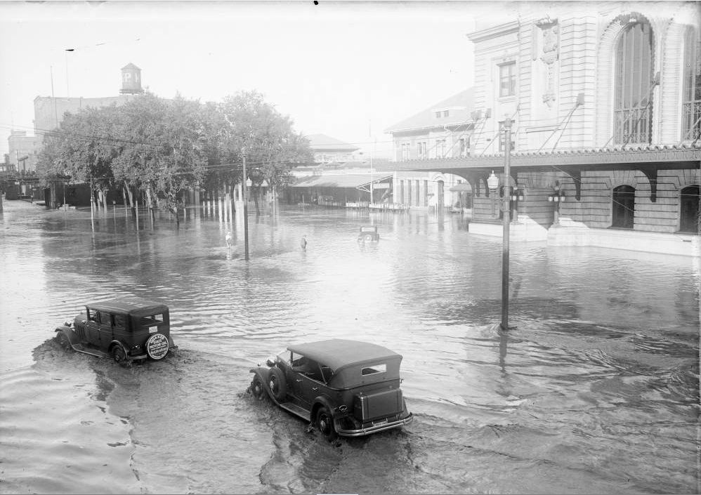 A flood at Union Station on Aug. 4, 1933. (Harry Mellon Rhoads/Western History & Genealogy Dept./Denver Public Library)