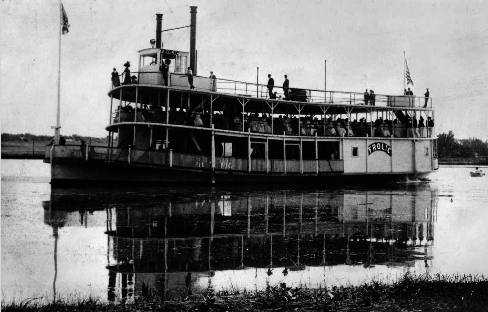 "The riverboat ""Frolic"" on Sloan's Lake in Denver, circa 1905. The boat was burned in 1908 and dismantled in 1910.  (Western History & Genealogy Dept./Denver Public Library)"