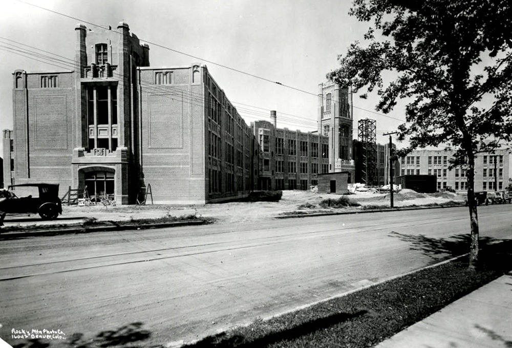 West High School under construction. (Denver Public Library/Western History Collection/WH1990)  high school; denver public library; dpl; archive; history;