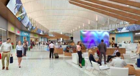 The pathway from security to the concourse trains will be lined with shops. (Courtesy DIA) airport; Denver International Airport; rendering