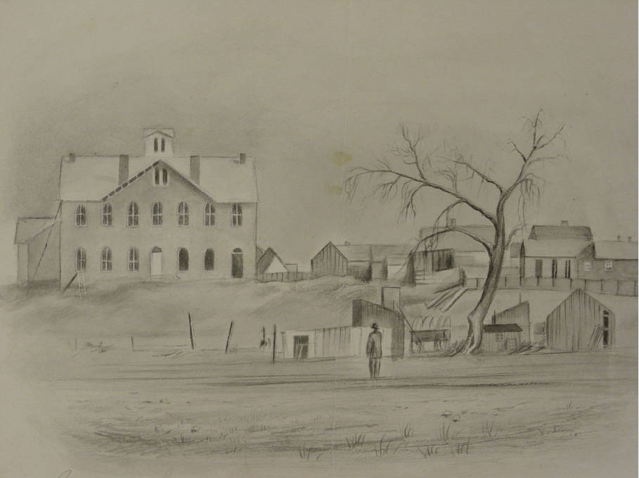 A sketch of Colorado Seminary, University of Denver's precursor, from the mid-19th Century. (Elsie Noble Burton-Mund/Western History & Genealogy Dept./	C34-17 ART)