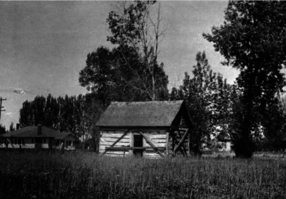 The remains of Benjamin Wadsworth's 1859 log cabin, as seen sometime between 1920 and 1940. (Henrietta E. Bromwell/Western History & Genealogy Dept./Denver Public Library/X-6743)