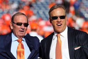 Broncos owner Pat Bowlen, left, pictured with John Elway in 2014. (Matthew Emmons/USA Today Sports)