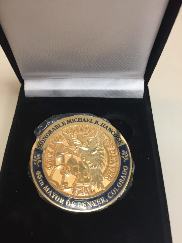 The back of a Denver Challenge Coin. (Courtesy of the Mayor's Office)
