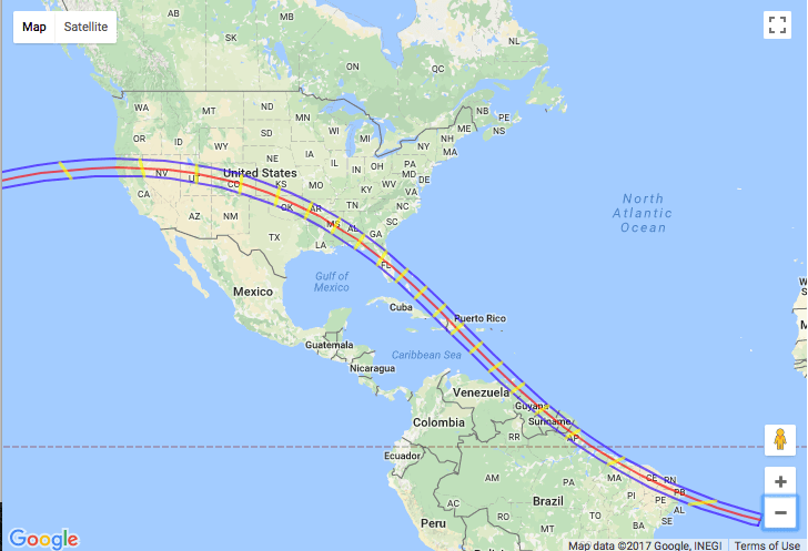 The projected path of the 2045 total solar eclipse through Colorado. (NASA/Google Maps)