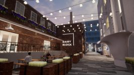 A rendering of the Dairy Block Alley. (Courtesy of Dunn Communications)