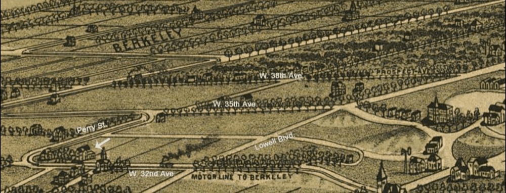 """This 1889 perspective map of Denver shows only one building within the nominated area, the 1886 Webber House (marked with a white arrow) on the northeast corner of today's West 32nd Avenue and Osceola Street. (H. Wellge, """"Perspective Map of the City of Denver, 1889""""/: Packard's Hill Historic Designation Application Form)"""