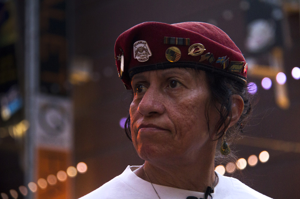 """Sally """"Apache"""" Martinez on patrol with the Colorado Guardian Angels, for whom she spent 14 years as a live-in volunteer, July 11, 2015. (Kevin J. Beaty)  denver; colorado; colfax; denverite; kevinjbeaty; guardian angels"""