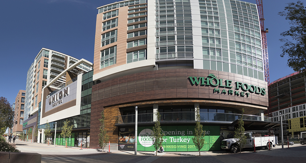 A forthcoming Whole Foods Market location on Wewatta Street near Union Station, Oct. 10, 2017. (Kevin J. Beaty/Denverite)   whole foods market; downtown; commercial real estate; kevinjbeaty; denver; colorado; denverite;