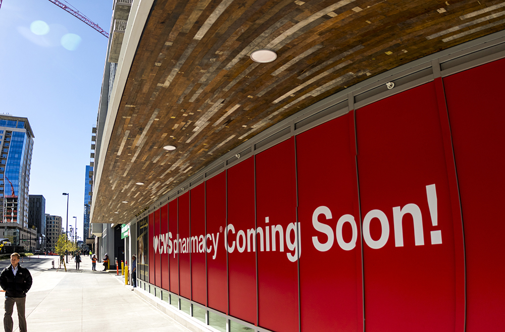 A forthcoming CVS Pharmacy on Wewatta Street near Union Station, Oct. 10, 2017. (Kevin J. Beaty/Denverite)   cvs pharmacy; downtown; commercial real estate; kevinjbeaty; denver; colorado; denverite;