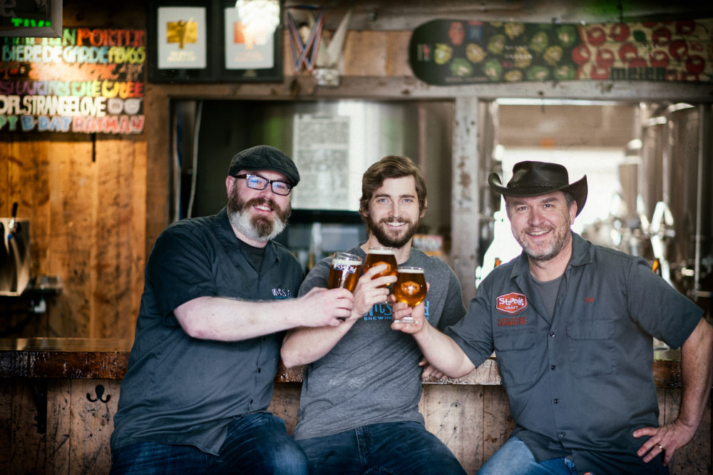From Left: Scott Witsoe of Wit's End Brewing Co., brewer Tyler Bies and Tim Myers of Strange Craft Beer Co. (Colin Bridge/Wit's End Brewing Co. and Strange Craft Beer Co.)