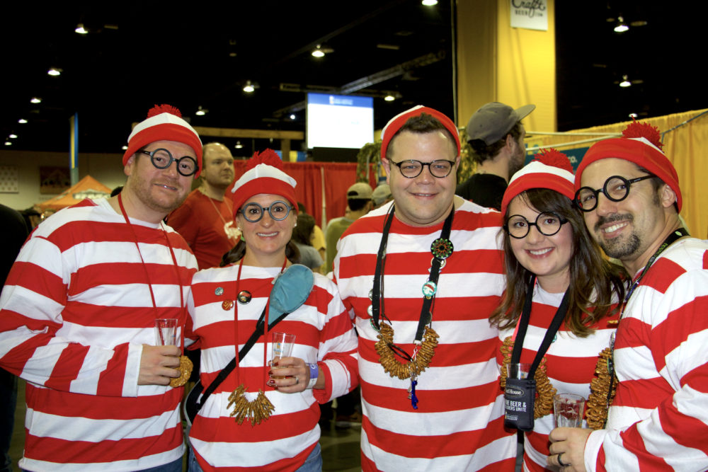 Jimmy Hawkins, Jordan Hawkins, Greg Benda, Chelsea Duke and Matt Duke of Atlanta at the Great American Beer Festival on Thursday, Oct. 5, 2017. (Paul Karolyi for Denverite)