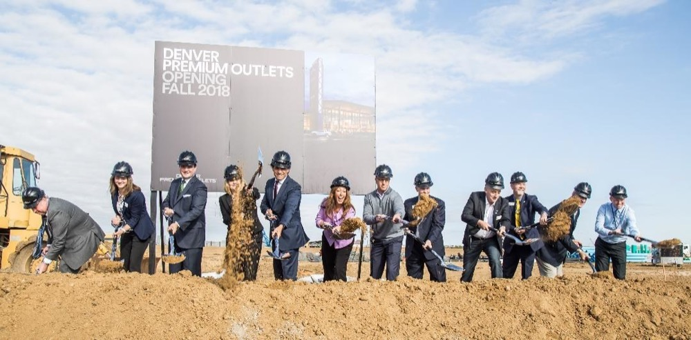 Local officials and executives from Simon break ground for Denver Premium Outlets on Oct. 5, 2017. (Courtesy of Simon))