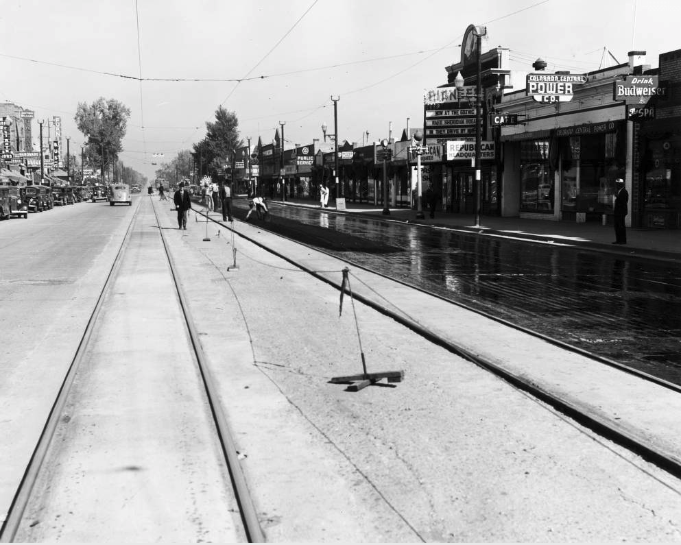 WPA (Works Progress Administration) workers resurface one side of South Broadway in Englewood, likely in the 1930s. (Western History & Genealogy Dept./Denver Public Library)