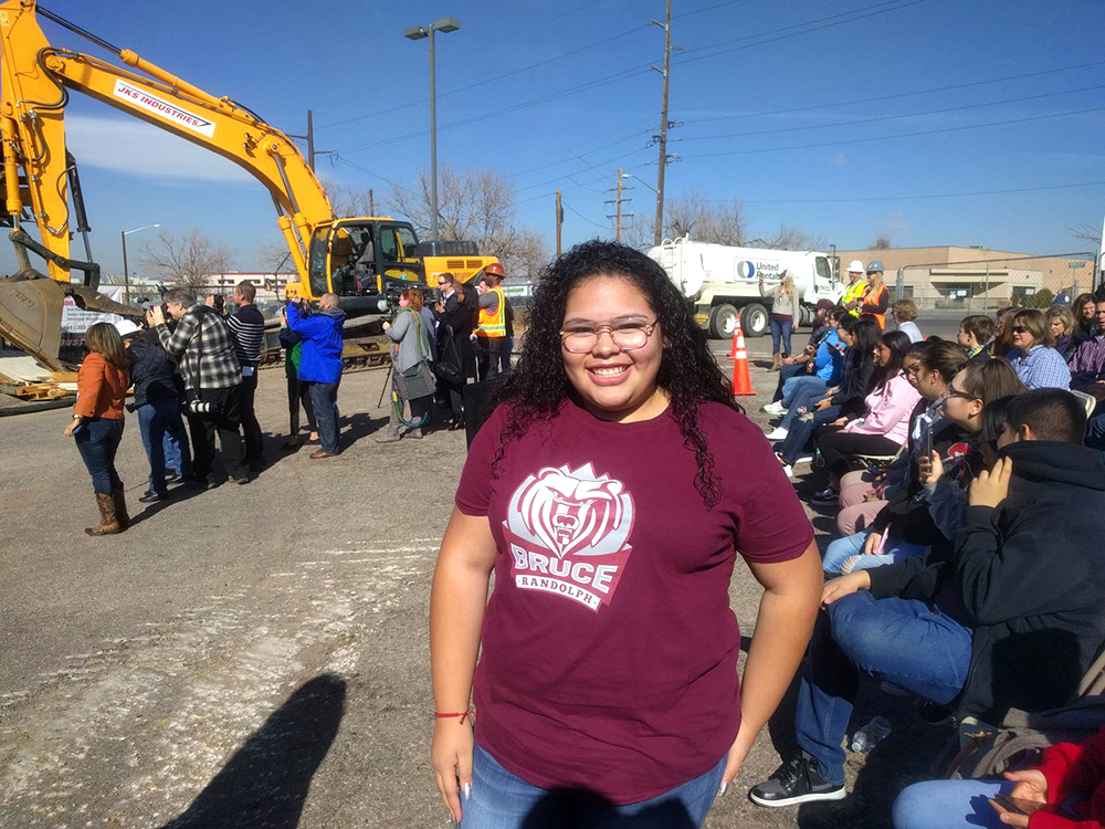 Bruce Randolph freshman Ana Campos. Groundbreaking for the National Western Center in Elyria Swansea, Nov. 3, 2017. (Kevin J. Beaty/Denverite)  denver; colorado; denverite; kevinjbeaty; national western center; development; elyria swansea; construction;
