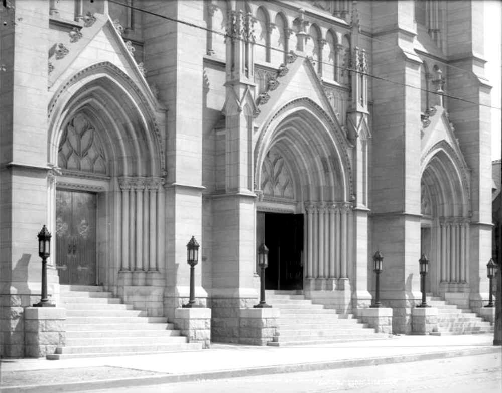 The Cathedral Basilica of the Immaculate Conception, taken sometime soon after construction was completed. (Louis Charles McClure/Denver Public Library/Western History Collection/MCC-1920)  cathedral basilica of the immaculate conception; north capitol hill; colfax; denver; colorado;