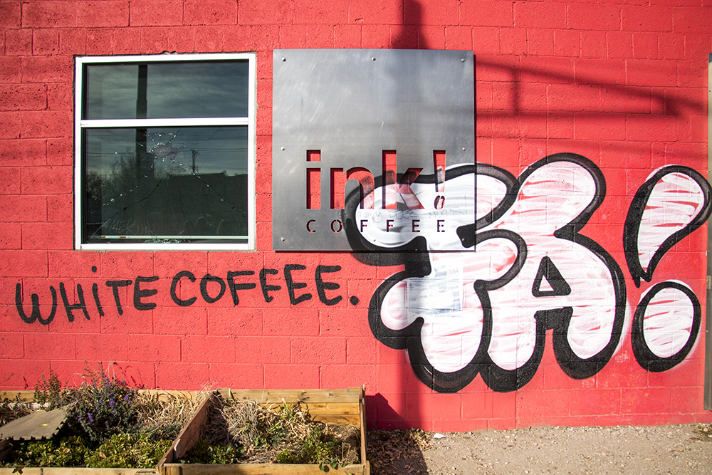 The aftermath of Ink! Coffee's signage snafu. (Kevin J. Beaty/Denverite)  denver; colorado; gentrification; rino; five points; ink coffe; kevinjbeaty; denverite;