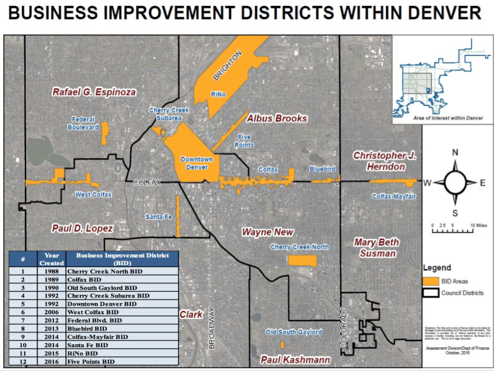 A map of business improvement districts in Denver. (City and County of Denver)