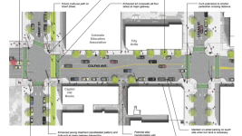 An illustration of a possible rebuilding of pedestrian amenities on Colfax Avenue. (Colfax BID)