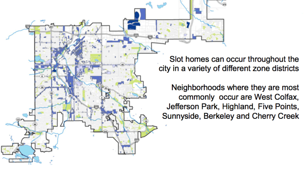 A map of the areas where slot homes could be built. (City and County of Denver)