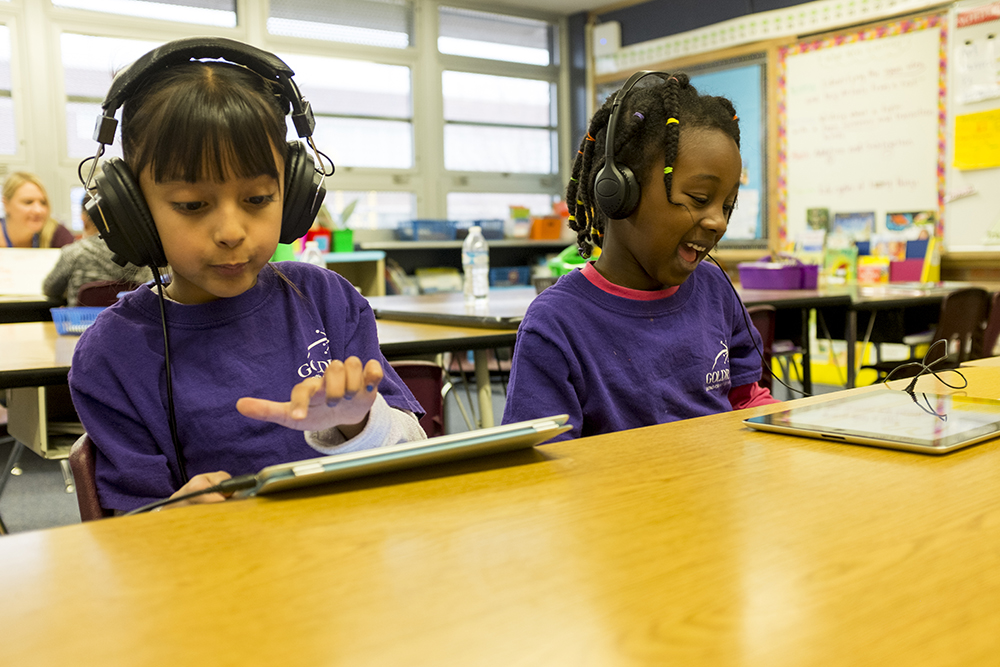 First graders learn on iPads at Goldrick Elementary School, Dec. 7, 2017. (Kevin J. Beaty/Denverite)  denver; colorado; denverite; kevinjbeaty; elementary school; education; goldrick elementary; learning; classroom;