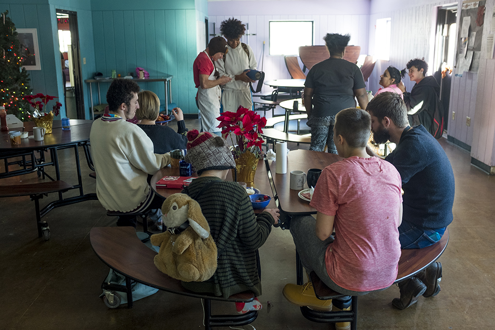 Breakfast on Christmas Day at Urban Peak, a shelter for Denver's homeless youth, Dec. 25, 2017. (Kevin J. Beaty/Denverite)  homeless; urban peak; denver; denverite; colorado; kevinjbeaty;