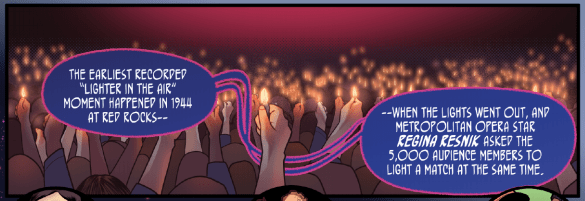 """A panel from """"Red Rocks,"""" an issue of Colorful History written by R. Alan Brooks and illustrated by Dailen Ogden. (Courtesy Pop Culture Classroom)"""
