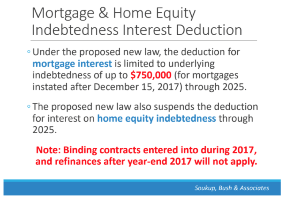 A slide featured in Soukup, Bush & Associates' explanation of the new tax legislation. (Courtesy of Soukup, Bush & Associates)