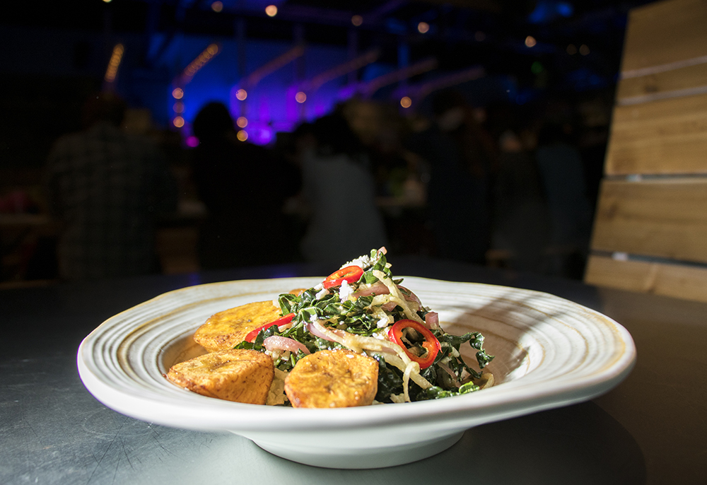 Kale and plantains. Bang Up To The Elephant's press opening, Jan. 23, 2018. (Kevin J. Beaty/Denverite)  restaurants; nightlife; food; denver; colorado; capitol hill; bars; kevinjbeaty;