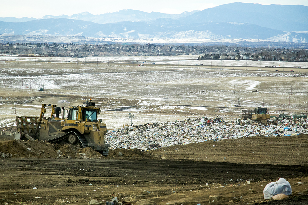 Garbage atop the active dumping site. Denver Arapahoe Disposal Site, the landfill owned by Denver and operated by Waste Management. Jan. 26, 2018. (Kevin J. Beaty/Denverite)