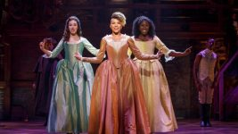 "Solea Pfeiffer, Emmy Raver-Lampman and Amber Iman as the Schuyler sisters in the ""Hamilton"" National Tour. (Photo: Joan Marcus)"