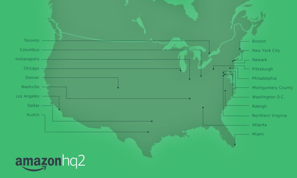 A map of Amazon HQ2 candidates. (Amazon)