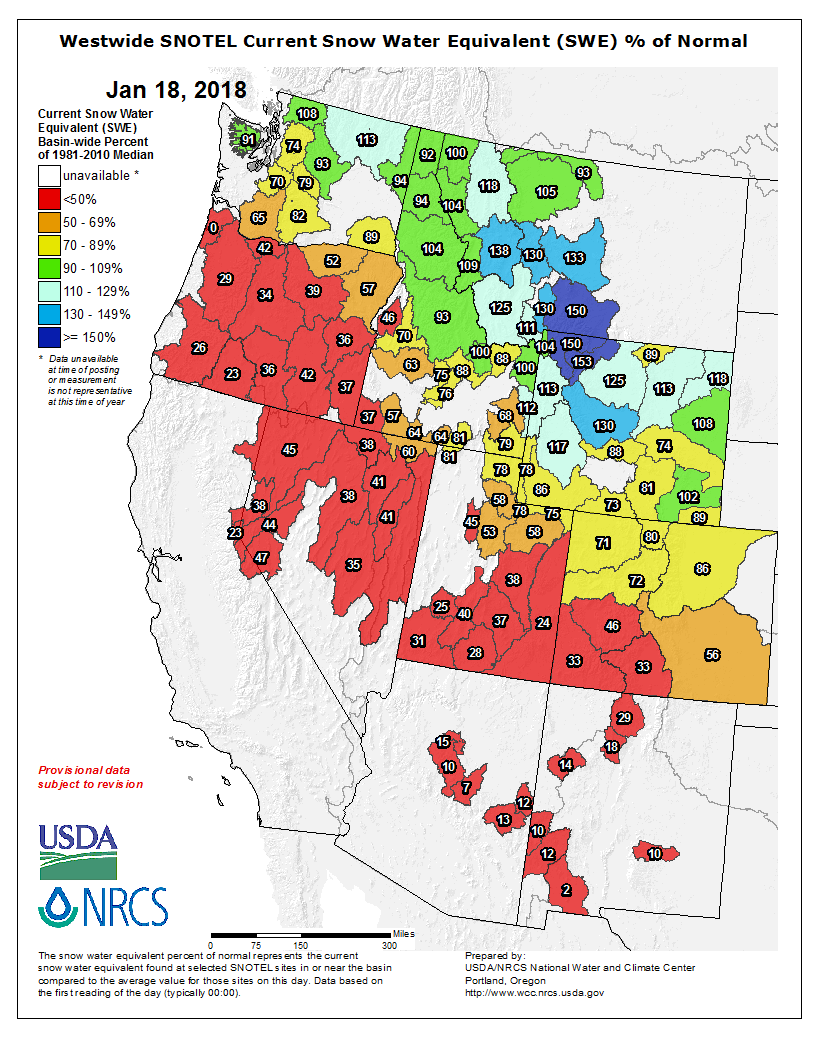 Snowpack is running below the median in much of the West.