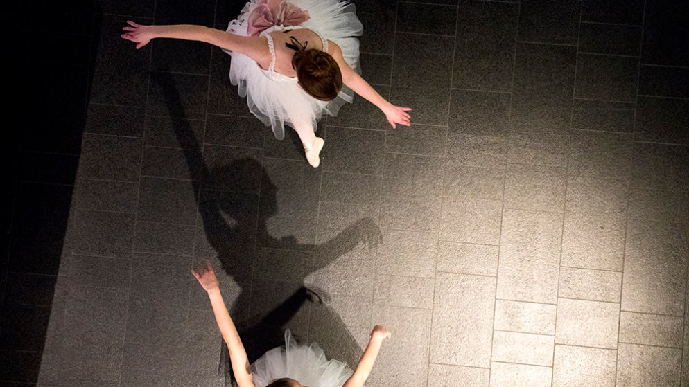 Michelle and Rebecca, who dance with the Colorado Ballet Academy, perform at CultureHaus: Art of the Figure in the Denver Art Museum, Feb. 17, 2018. (Kevin J. Beaty/Denverite)