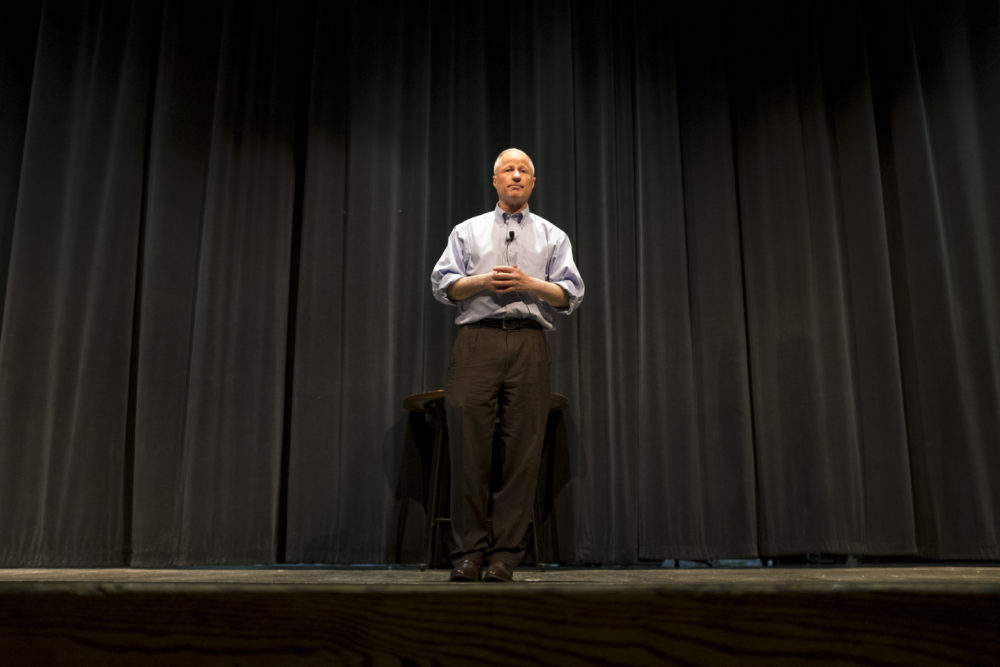 Mike Coffman speaks at a town hall event at Cherry Creek High School, Feb. 21, 2018. (Kevin J. Beaty/Denverite)  copolitics; town hall; mike coffman; greenwood village; denver; colorado; denverite; kevinjbeaty;