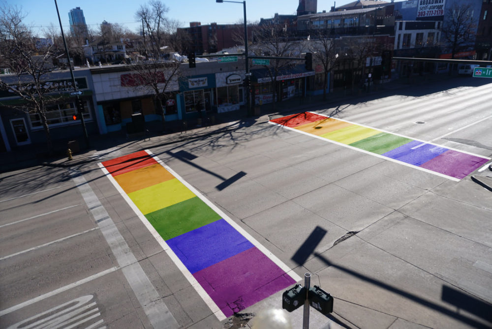 A photo-illustration of a Pride-themed crosswalk proposed for Broadway. (Broadway Rainbow Crosswalk)