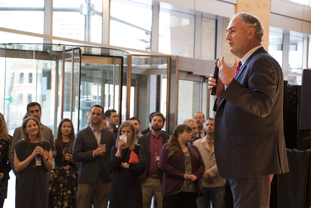 Hines Interests southwest region CEO Mark Cover speaks at a party celebrating the opening of Denver's newest skyscraper, 1144 Fifteenth, March 22, 2018. (Kevin J. Beaty/Denverite)  denver; colorado; denverite; development; kevinjbeaty; downtown; central business district;