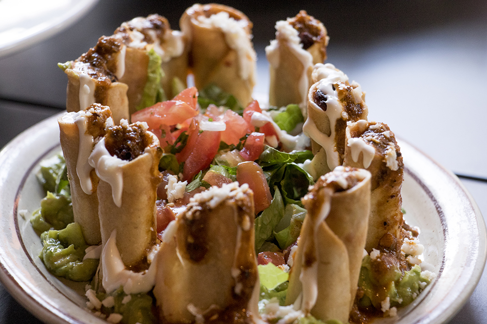 Chicken tinga Taquitos at Los Chingones' new space on Larimer Street, Los Lounge, is open for business, March 23, 2018. (Kevin J. Beaty/Denverite)  food; nightlife; rino; five points; denver; colorado; denverite; kevinjbeaty;