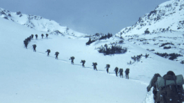 A Mountain Training Group trip from Leadville to Aspen, Colorado in Feb. 1944. (Richard A. Rocker/Is Part Of	10th Mountain Division Resource Center Collection/Western History & Genealogy Dept./Denver Public Library/TMD-471)