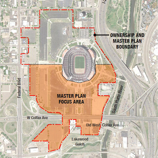 A map of the land around Mile High stadium that could be developed. (City and County of Denver)