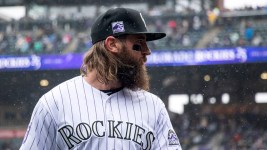 Charlie Blackmon on a snowy opening day at Coors Field, April 6, 2018. (Kevin J. Beaty/Denverite)